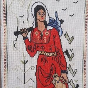Wall Hanging Embroidery Women Working Folk Art Hol